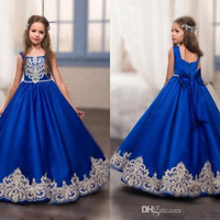 2017 New Royal Blue Gold Lace Appliques Flower Girl's Dresses Square Neck Formal Kids Wear Long Girl's Pageant Dresses F4