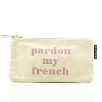 Pardon My French Small Zipper Pouch in Pink and Polka Dots