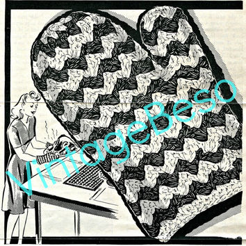 Kitchen Mitt Crochet Pattern Vintage 1950s Cooking Mitt Crochet Pattern Oven Mitt Crochet Pattern Instant Download PDF Pattern