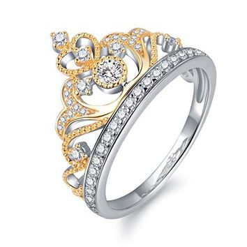 AUGUAU Yellow & White Gold Plated 925 Sterling Silver Princess Crown Ring - Top Tiara Ring Gift