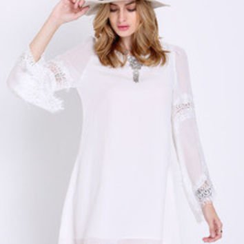 Women's White Flare Long Sleeve With Lace Vintage Shift Dress