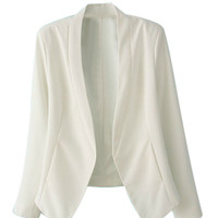 White Single Button Long Sleeve Slim-cut Blazer