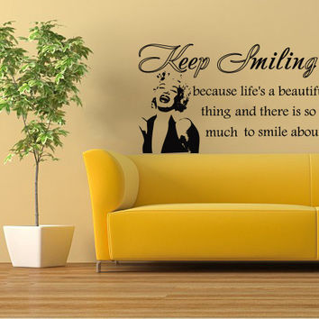 Housewares Marilyn Monroe Quote Wall Vinyl Decal Sticker Keep Smiling Life a Beautiful V252