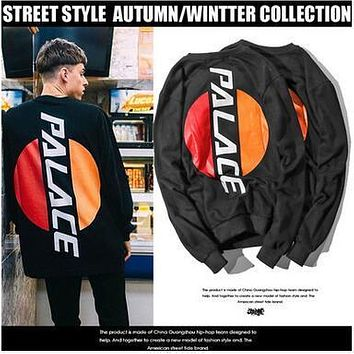 Tide Brand PALCACE Hamburger Fleece Pullover Sweatshirts Street Style Casual Hoodies Teenager Lovers Winter Autumn Cotton Black Hoody