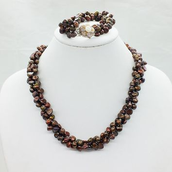 Its gorgeous classic  brown  3 strand Baroque freshwater pearl necklace and Bracelet Set 19 inches