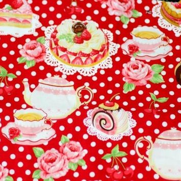 Strawberry Cake Print japanese fabric A19