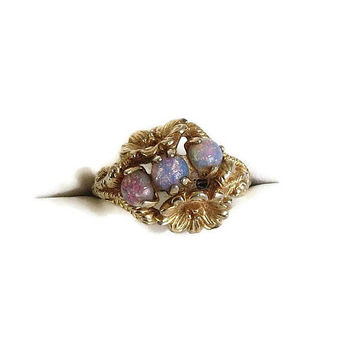 Faux Fire Opals Floral Ring Vintage signed Avon size 8.75