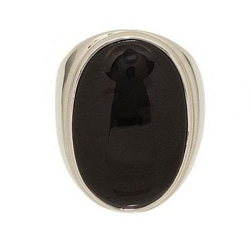 Large Single Stone Black Onyx Fashion Ring in Polished Setting