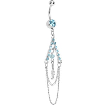 Aqua Gem Inverted V Bead and Chains Chandelier Belly Ring