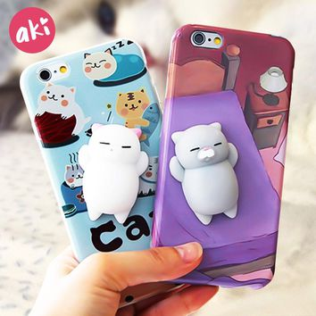 AKI Squishy Mobile Phone Cases for iPhone 7 8 Plus Case Kitty Panda Cat Lovely Soft Back Cover for iPhone 6 6s Plus Case