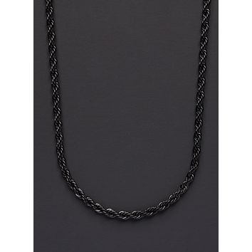 Stainless steel black rope chain necklace for men