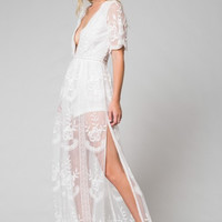 Merinda Embroidered Lace Maxi Dress in White