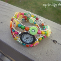 Spring Clay Fruit and Colorful Wood beads Wrap Watch Fruit of the Spirit, Vegan Jewelry