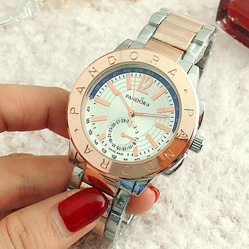 PANDORA Fashion Woman Men Quartz Watch Business Watches Wrist Watch Lovers Watch Silver Rose Gold