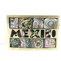 Alpaca Silver Abalone Shell Inlaid Belt Buckle Mexico Signed Mexican Gifts 1970s Signed Alpaca Unisex Buckle Southwestern Wear Fathers Day