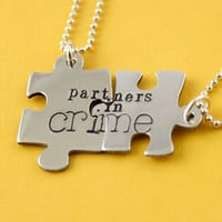 Partners in Crime Puzzle Piece Necklace - Hand Stamped Necklace