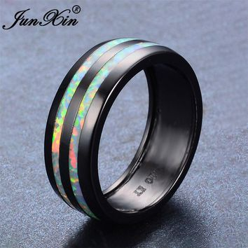 JUNXIN Vintage Male Female Ring White Fire Opal Ring Retro Black Gold Filled Jewelry Wedding Rings For Men And Women