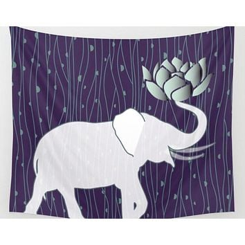 Lucky White Elephant Tapestry Wall Hanging Indian With Lotus FLower
