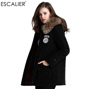 Escalier Women's Fur Winter basic Jackets Fur Collar Coat Jacket Thick Warm Hooded Zippers Warm Parkas XS-3XL Free Shipping