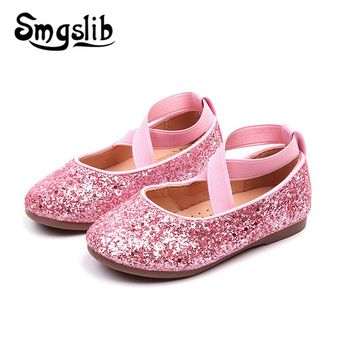 Children Shoes Girls Pu Leather Sneaker Kids Glitter Dance Shoes 047aaf429