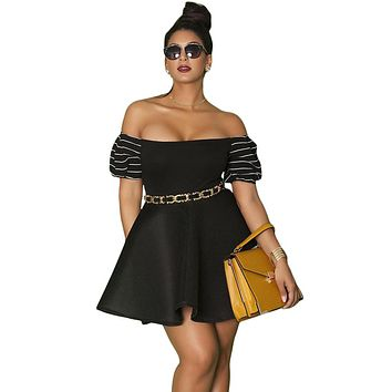 Z| Chicloth Black Plus Size Pleated Off-the-shoulder Skater Dress