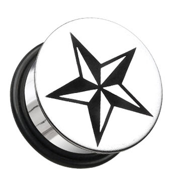 Nautical Star Hollow Back Single Flared Ear Gauge Plug