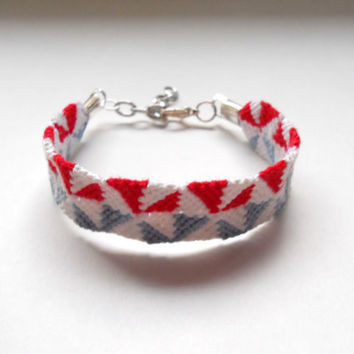 Red White and Blue Handmade Friendship Bracelet with by LJKnotShop