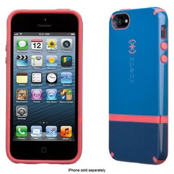 Speck - CandyShell Flip Case for Apple® iPhone® 5 and 5s - Harbor Blue/Dark Harbor Blue/Coral Pink