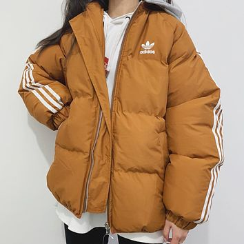 ADIDAS autumn and winter new men and women wild high quality zipper hooded down cotton padded clothes khaki