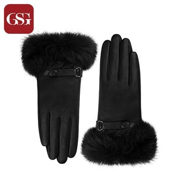 GSG Women Fashion Touchscreen Leather Gloves Fur Cuff Knitted Wool Lining Warm Winter Driving Gloves Mittens Black Brown Red