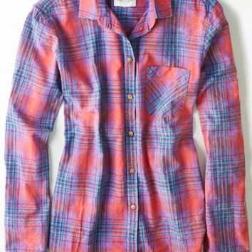 AEO 's Girlfriend Plaid Shirt (Red)