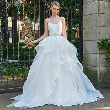 Dressv Spaghetti Straps Ball Gown Long Wedding Dress Sleeveless Appliques Ruffles Cascading Church Princess Wedding Dresses