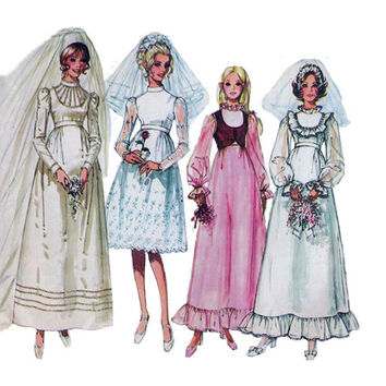"1970's Simplicity 9608 Woman's Wedding or Bridesmaid Dress and Bolero Size 12 || Bust 34""/ 86cm 