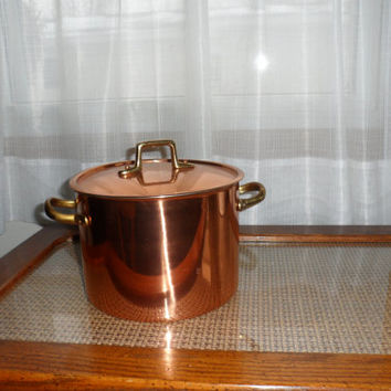 Vintage 1960's Copper Stock Pot with Copper Lid and Bronze Handles/Copper Stock Pot/Copper Kitchen Decor/Copper Soup Stock Pot/Stock Pot