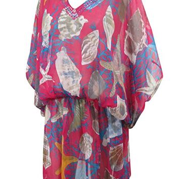 Womens Kaftan Short Caftan Pink Shell Printed Cover up Beach Dress One Size: Amazon.ca: Clothing & Accessories