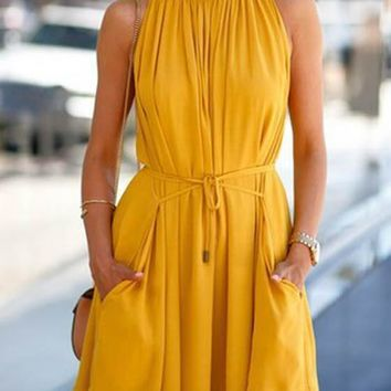 Yellow Sashes Draped Pockets Band Collar NYE Party Cute Skater Mini Dress
