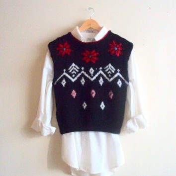Alpaca Wool Christmas Sweater Vest Hand Knit Sweater Fair Isle Knitted Snowflake Vest Ready to Ship! Christmas Clearance Sale!