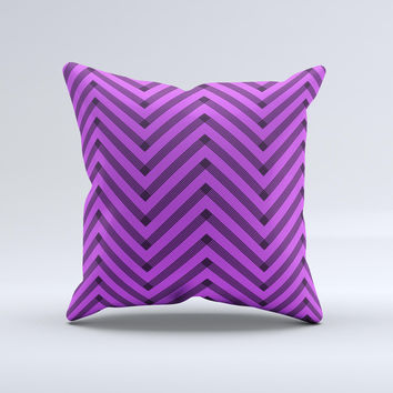 Purple & Black Sketch Chevron  Ink-Fuzed Decorative Throw Pillow