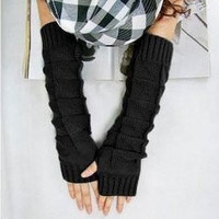 JOVANA Women Knitted Braided Long Winter Fingerless Gloves Wrist Warm Warmer Mitten (Black)