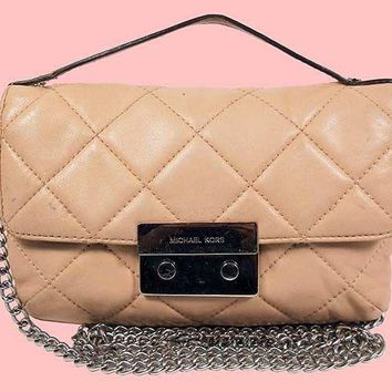 MICHAEL KORS SLOAN Blush Quilted Leather Messenger Bag Msrp