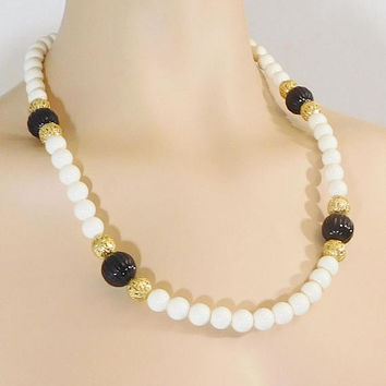 White Beaded Necklace, Large Black Beads, Gold Filigree Beads, 25 Inches, Vintage Costume Jewelry, 80s style, Plastic Beads, Lightweight