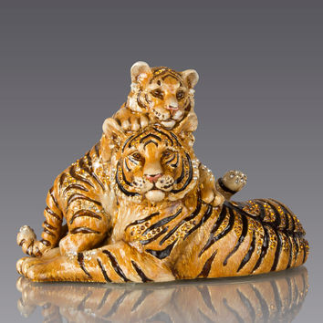 Mother & Baby Tiger Figurine - Jay Strongwater