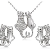 Rigant 18K RGP Alloy Cat Cut-out Necklace & Earring Set (White Gold) M. by Preciastore:Amazon:Home & Kitchen