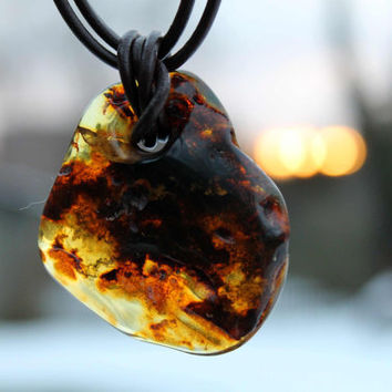 Amber Pendant / Raw Stone Men Necklace / Inclusion Fossil / Gift For Him / Fathers Day Dad Dude / Man Jewelry / Unique / Honey Brown Rustic