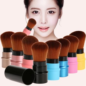 1pc Portable Retractable Makeup Brush Professional Cosmetic Foundation Blusher Face Blush Powder