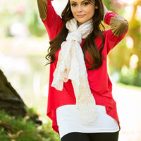Leather Elbow Patch Dolman Red
