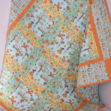 Owl and Fox Baby Boy or Girl Quilt, Blue Orange Yellow Woodland Quilt, Handmade Crib Bedding, Modern Baby Quilt Blanket, Baby Shower Gift