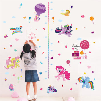 Cartoon My Little Pony Ponies Wall Stickers For Kids Rooms Home Decoration Height Measure Chart Wall Decal Cute Animal Diy Gift