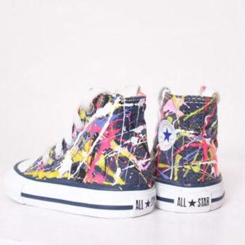 ONETOW Baby Navy Blue High Top Splatter Painted Converse Sneakers Baby Size 2, Neon Sign Colo