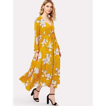 Yellow V-Neck Long Sleeve A-line Dress